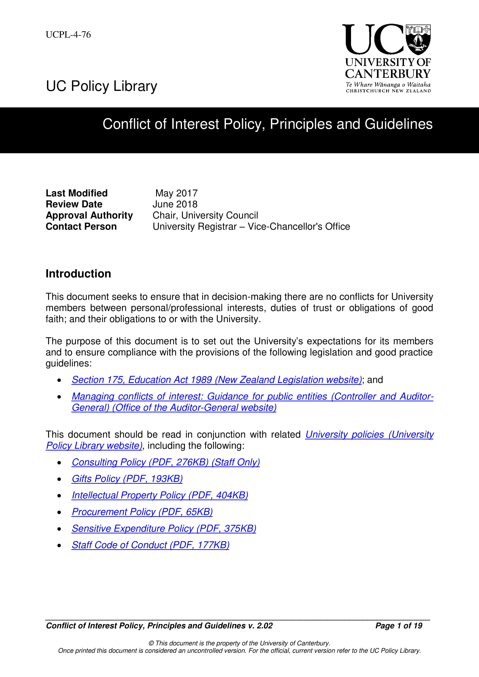 principles and guidelines example conflict of interest policy principles and guidelines 01