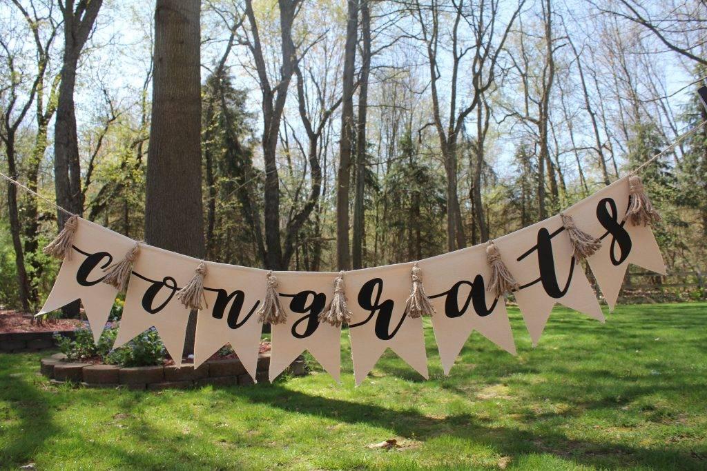 congrats pennant graduation or wedding banner example