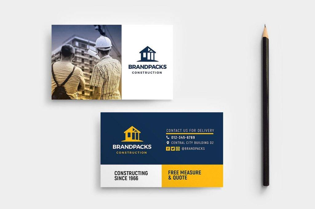 construction business card template example