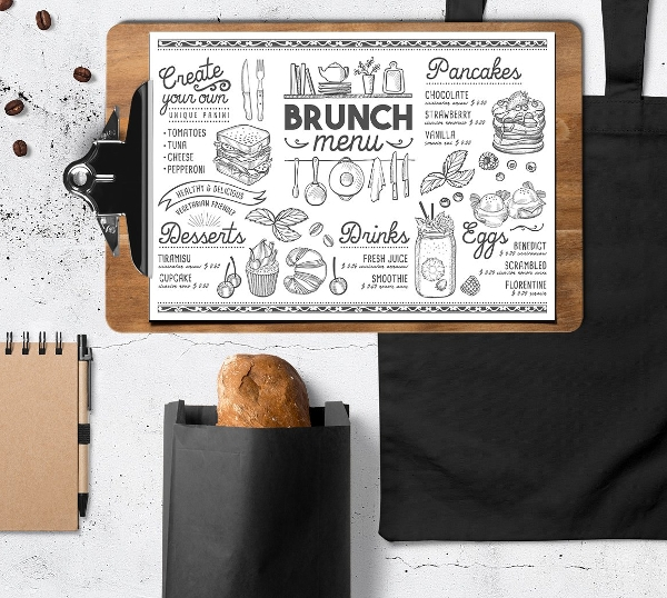 cool brunch food menu example