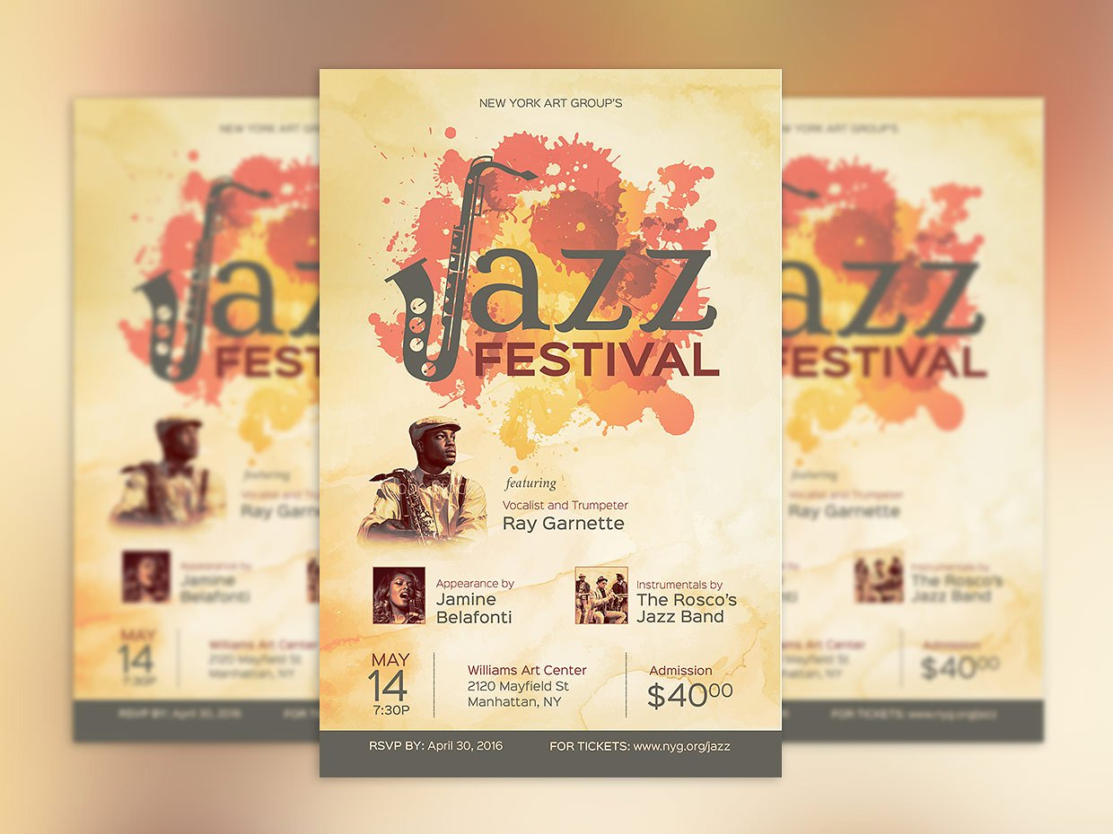 cool jazz festival event poster example