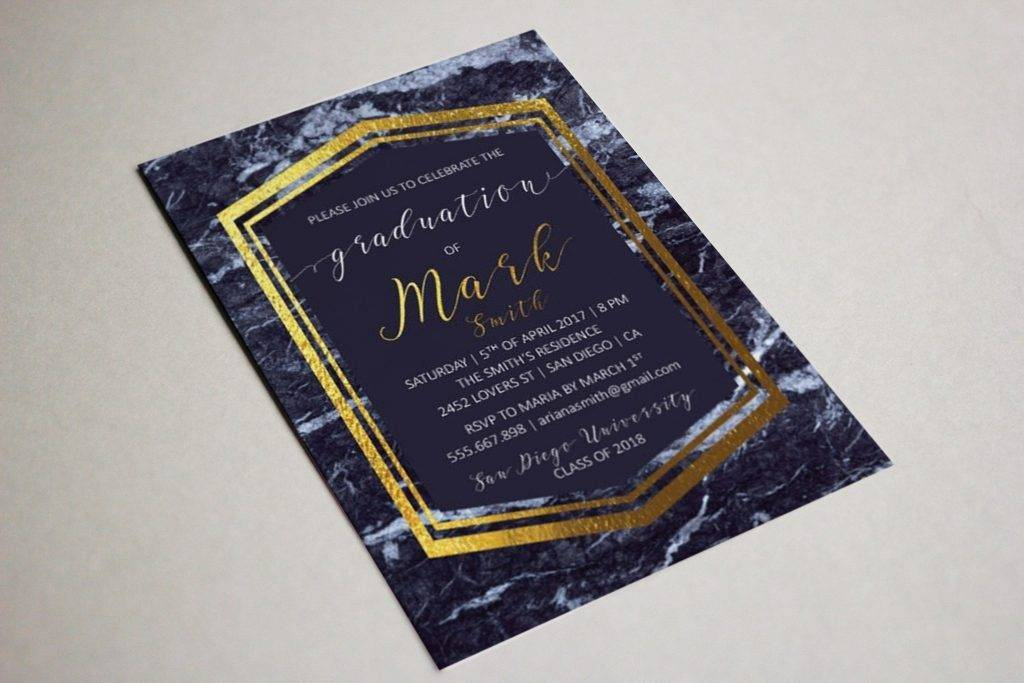cool marble graduation party invitation example