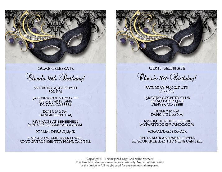 cool masquerade ball invitation example