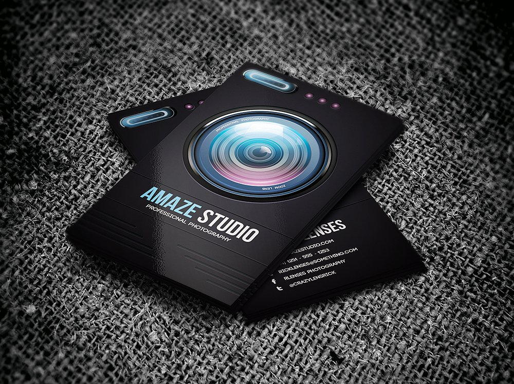 cool photography lens business card example