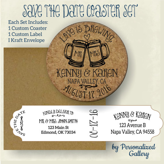 cork coasters save the date label example