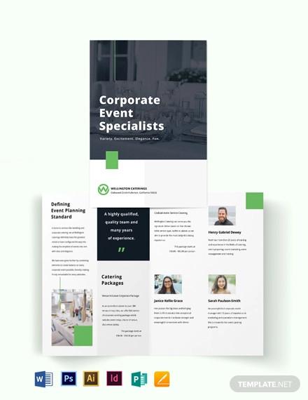 corporate event catering bi fold brochure template