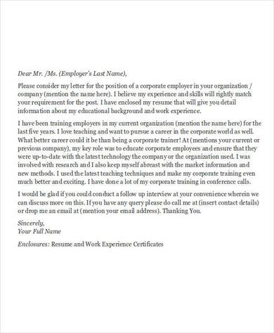 corporate training letter1