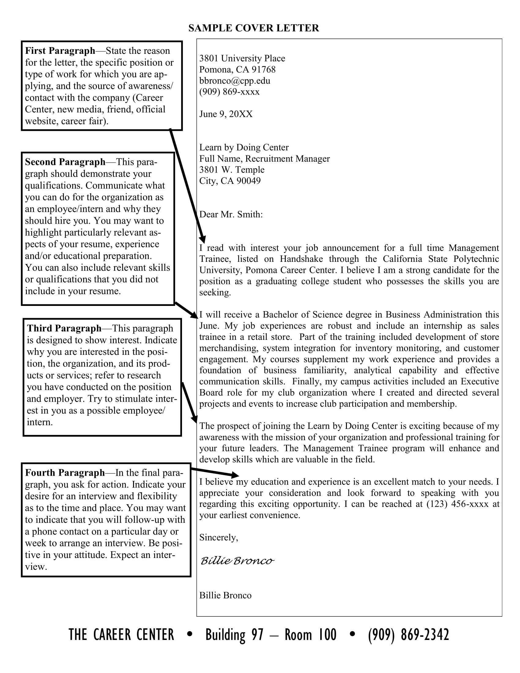 cover letter format example