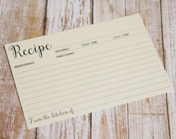 cream double sided recipe index card
