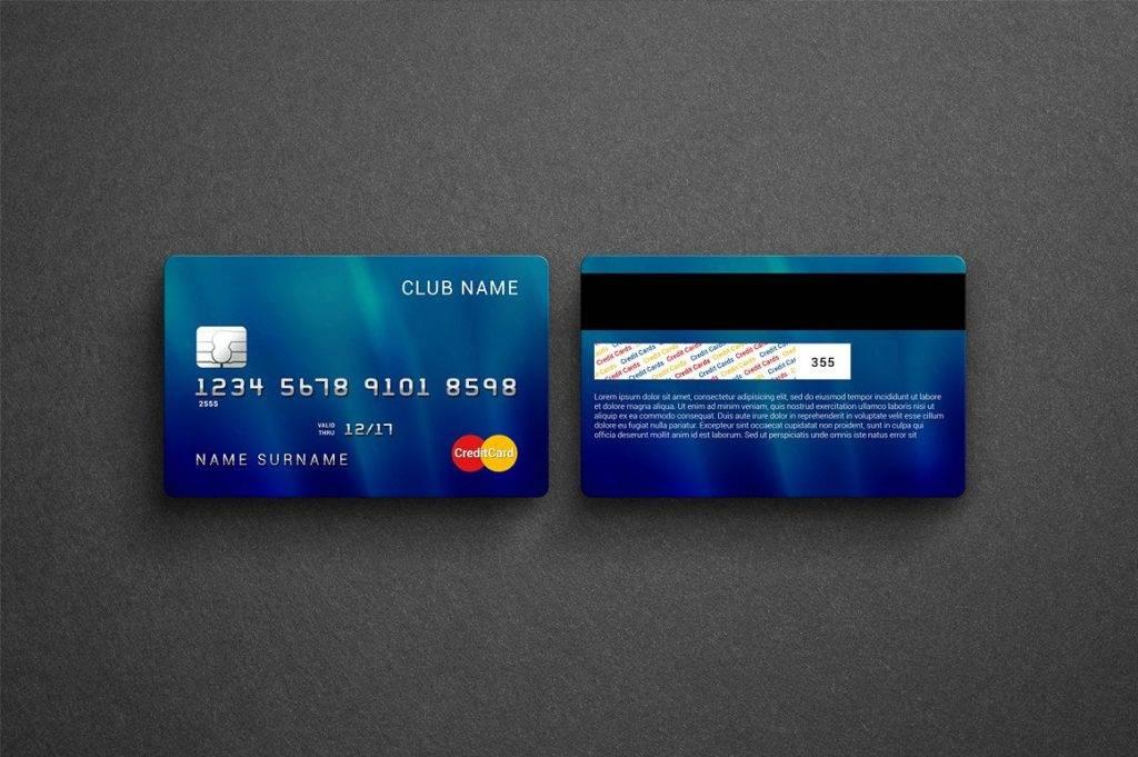 credit or bank card mock up