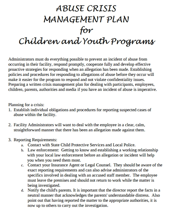 crisis management plan for children and youth programs