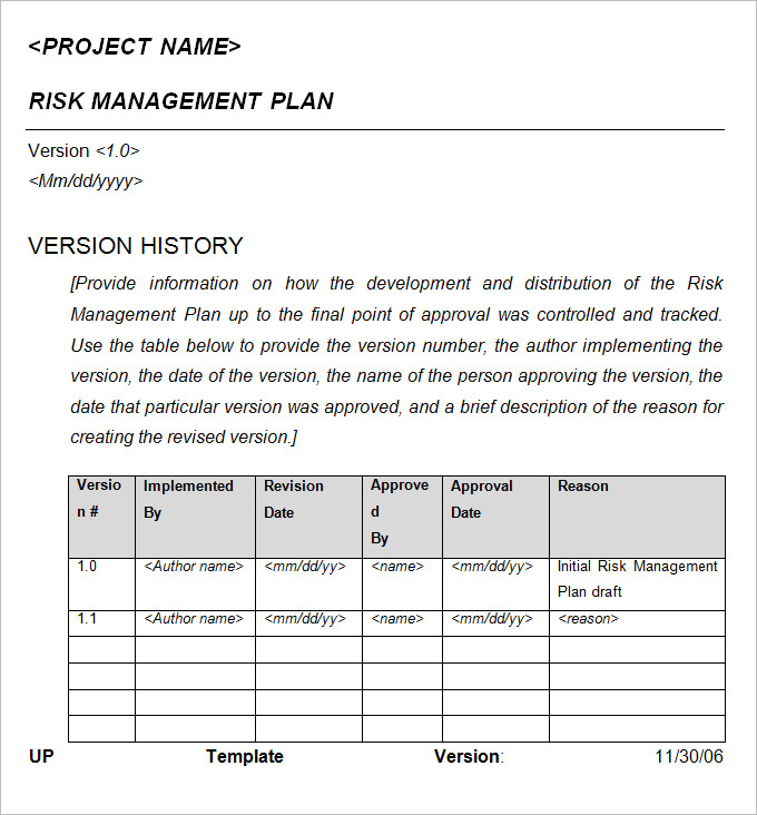 crisis risk management plan template example