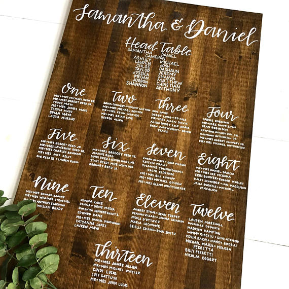 custom wood wedding seating chart example