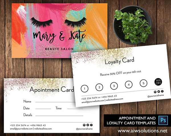 customer nail salon loyalty card