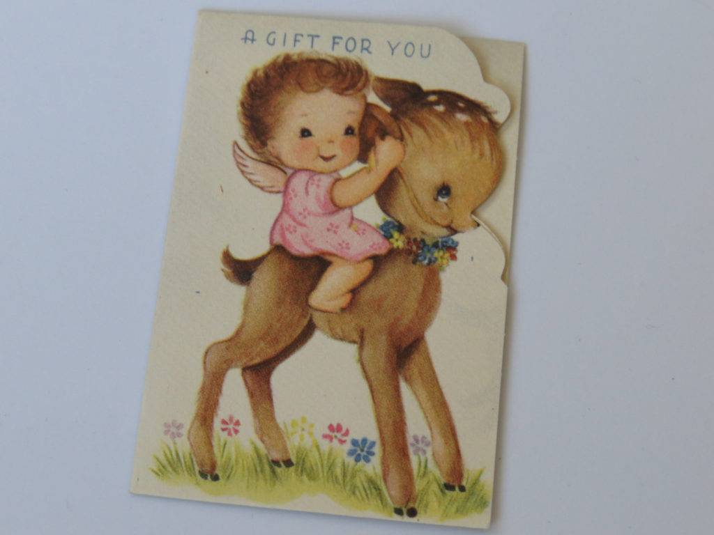 cute angel and deer gift card example