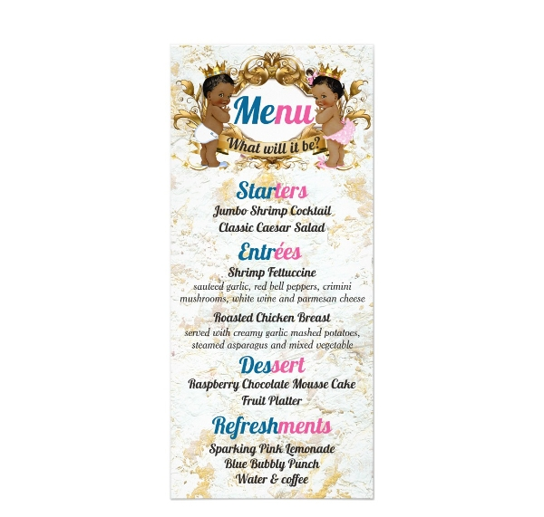 cute babies birthday party menu example