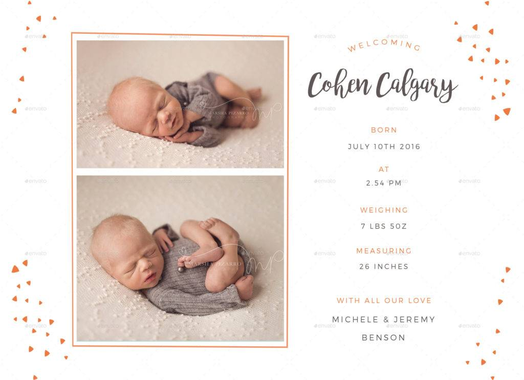 cute baby announcement card example1