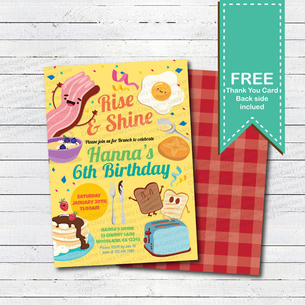 cute breakfast birthday invitation example