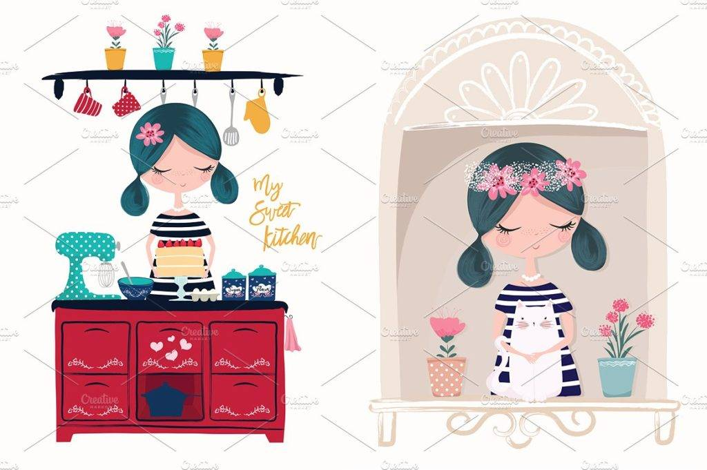 cute girl postcard design