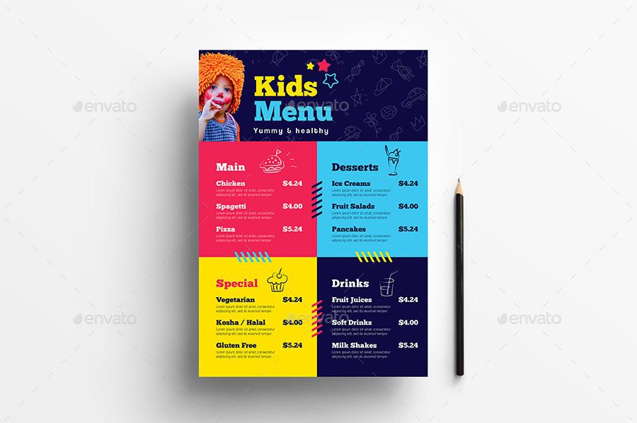 cute kids party menu example