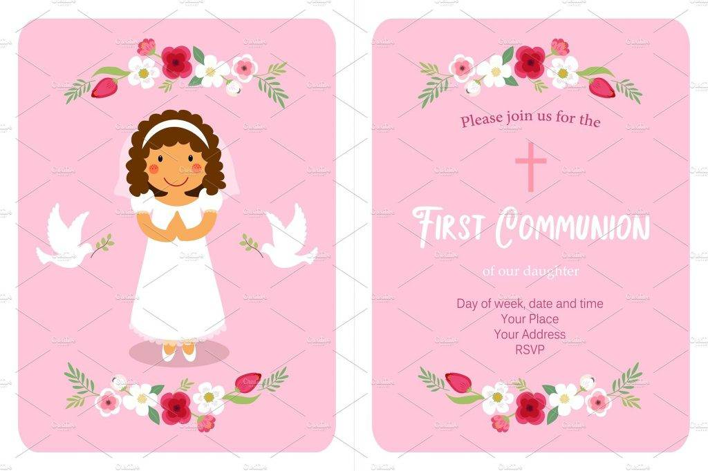 cute little girl first communion invitation