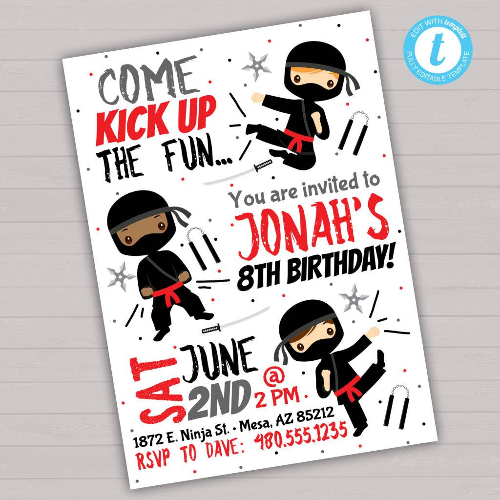 cute ninja invitation example
