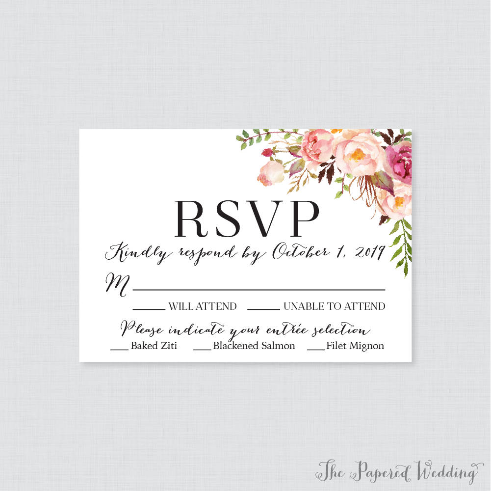 cute wedding rsvp card example