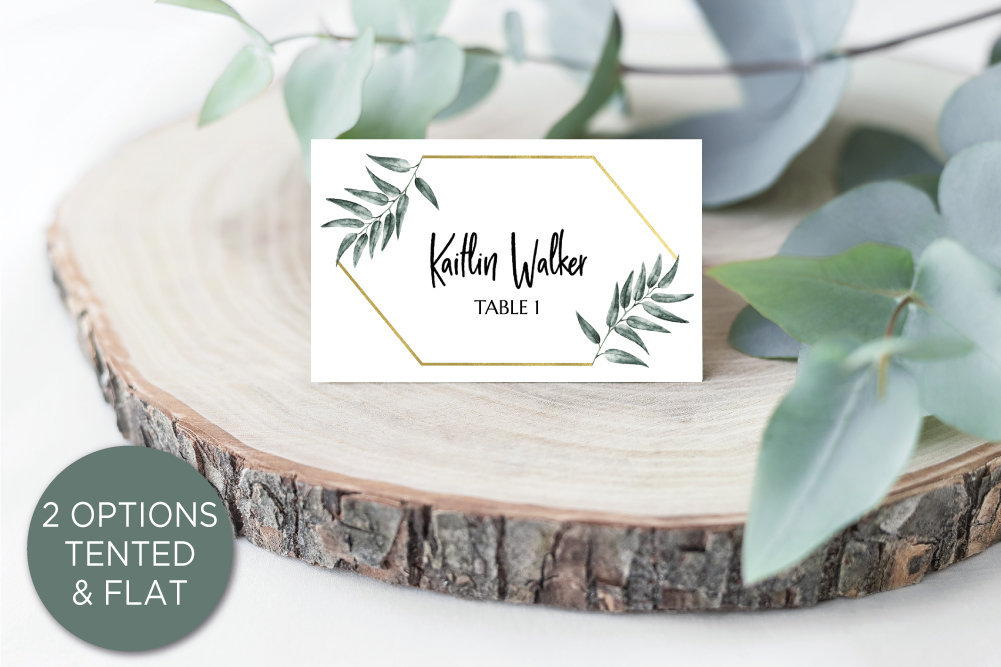 diy greenery gold wedding place cards printable template