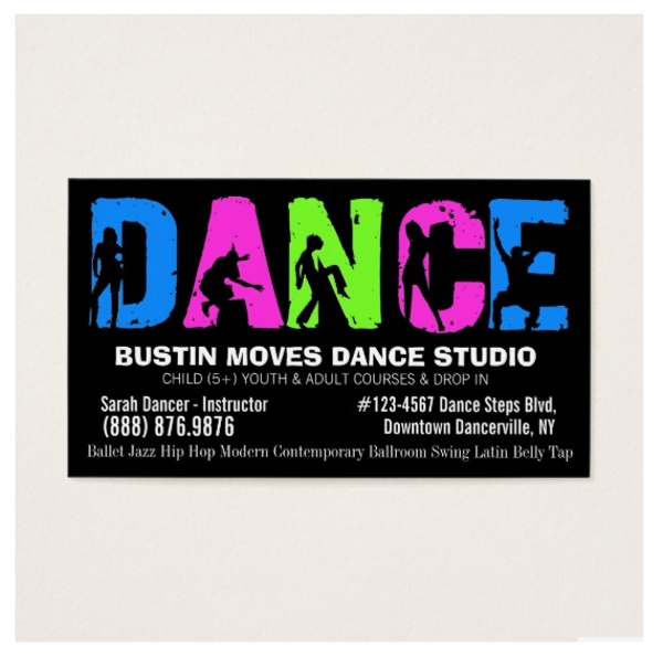 dance studio business card example