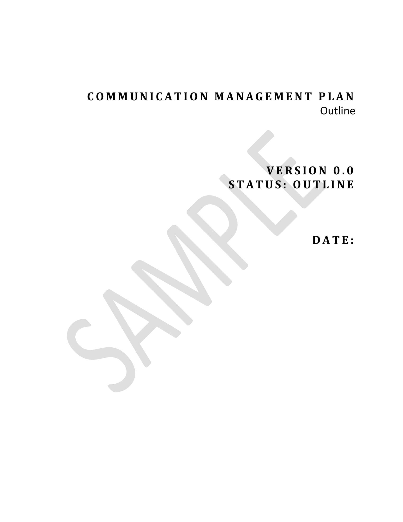 detailed communication management plan example