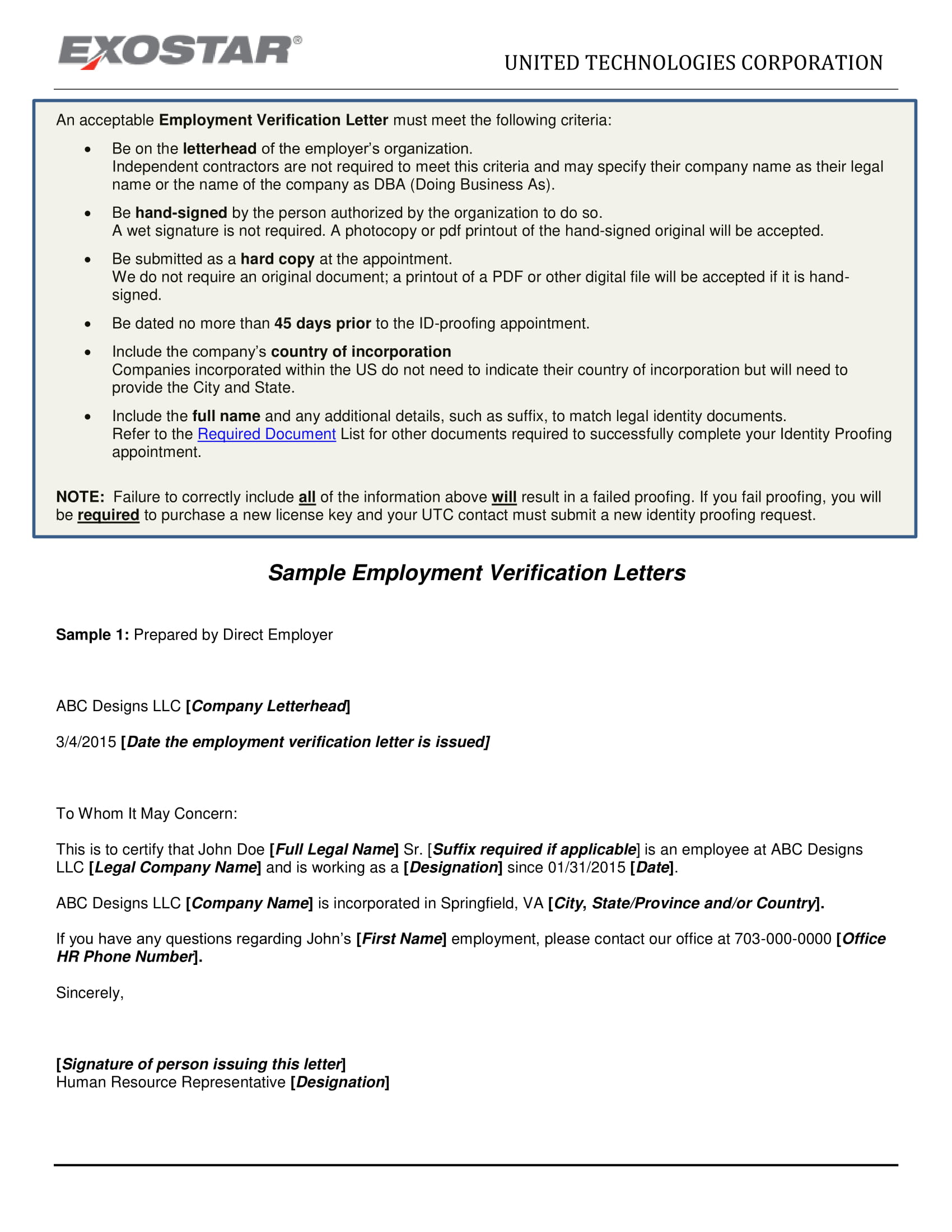 detailed employment verification letter example
