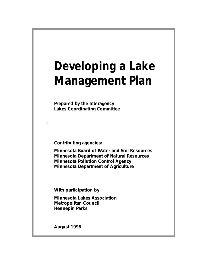 developing a lake management plan example