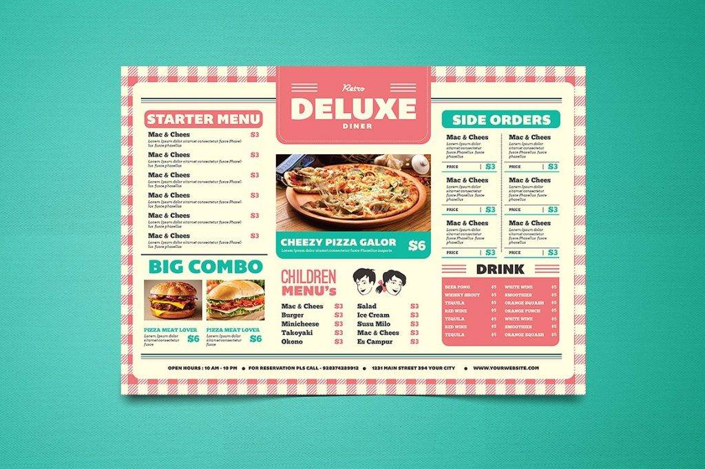 diner inspired menu design example