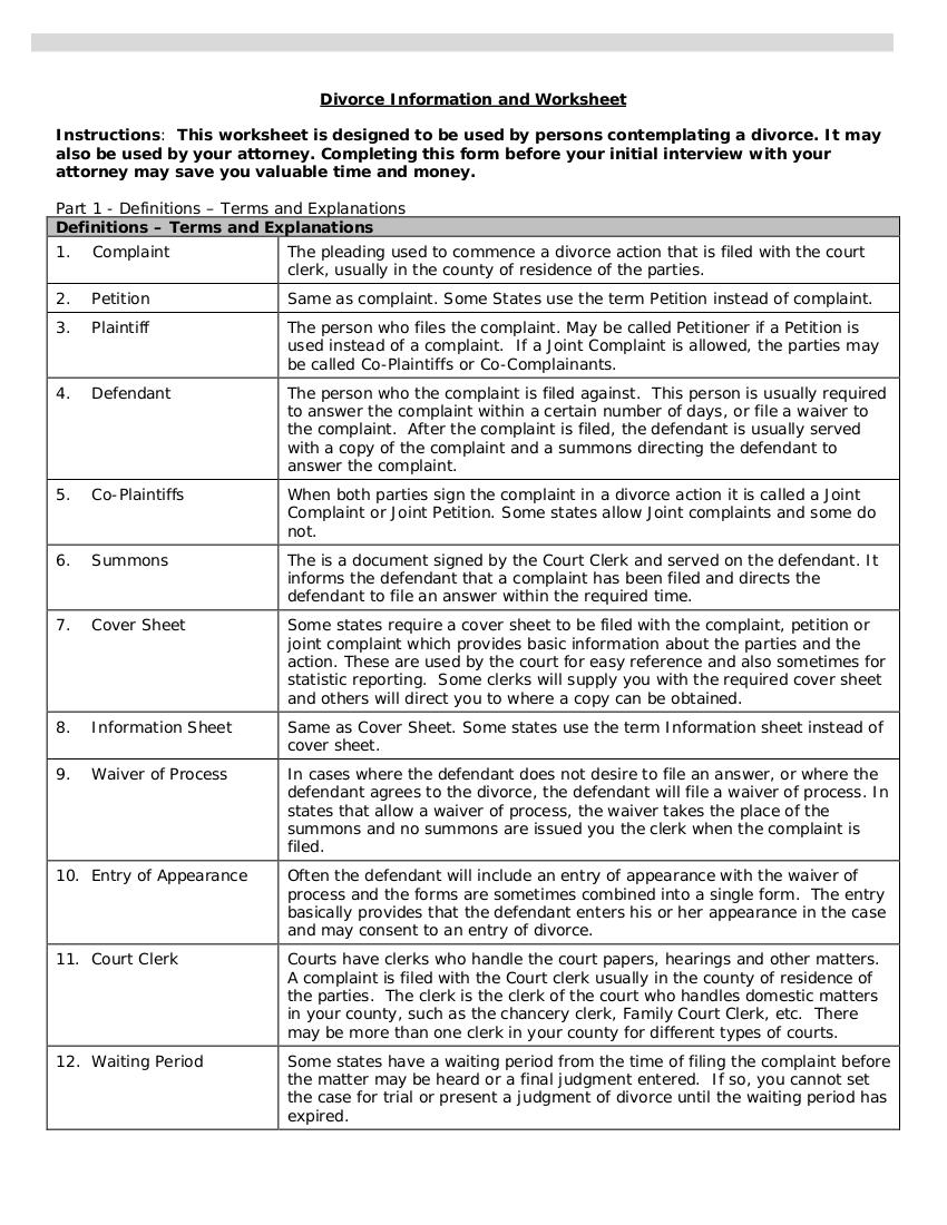 divorce information worksheet example
