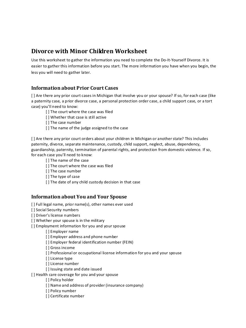 divorce with minor chidren worksheet example