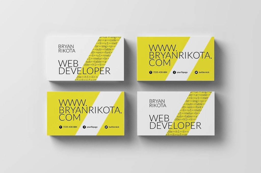 downloadable web developer business card