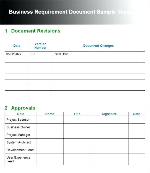 Draft Business Requirements Document Example