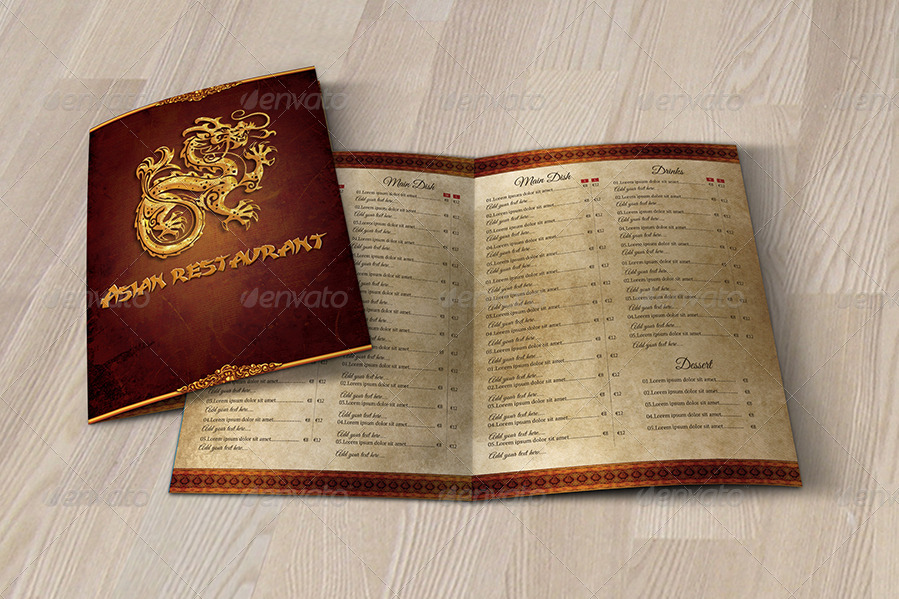 dragon menu template example
