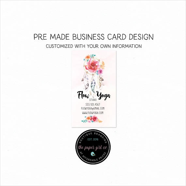 dreamcathcher yoga business card