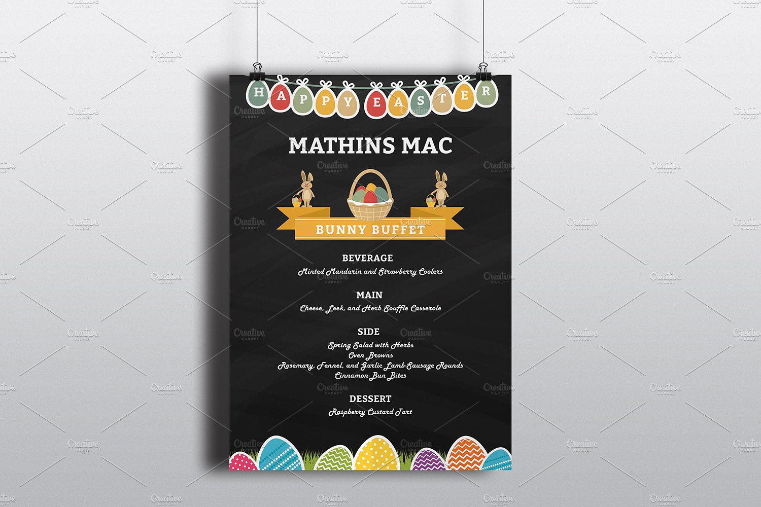 easter egg chalkboard menu example