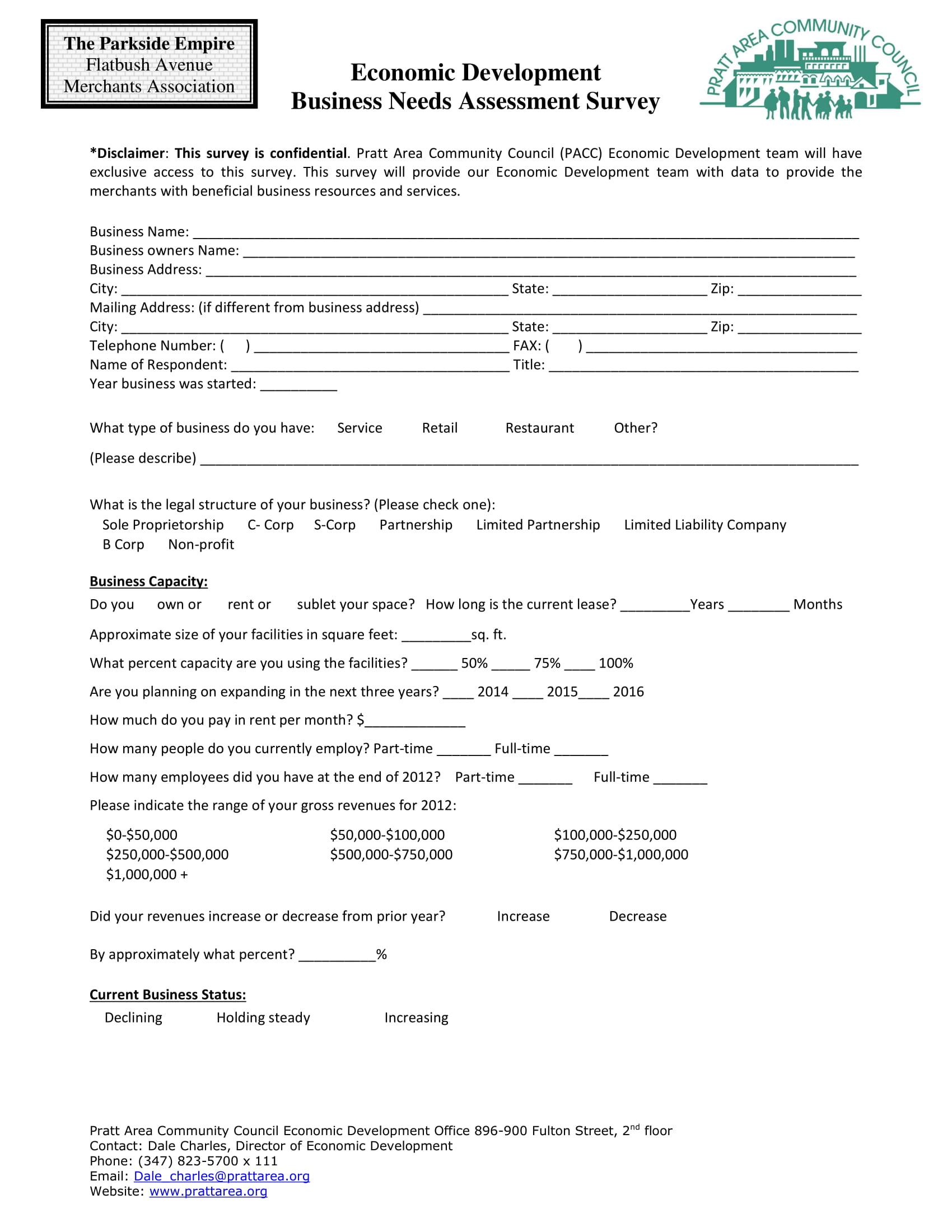 economic development business needs assessment survey example