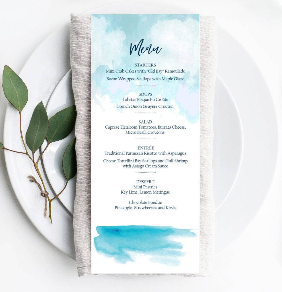 editable beach event menu example 991x1024