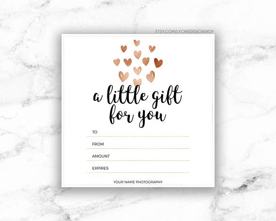 editable bridal gift card example