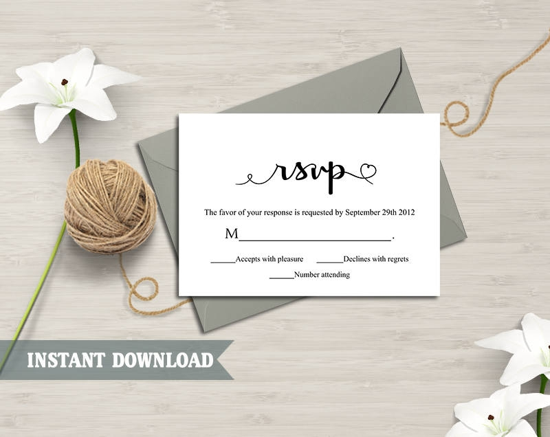 editable diy wedding rsvp example