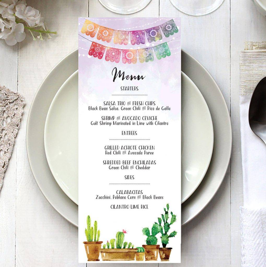 editable fiesta event menu