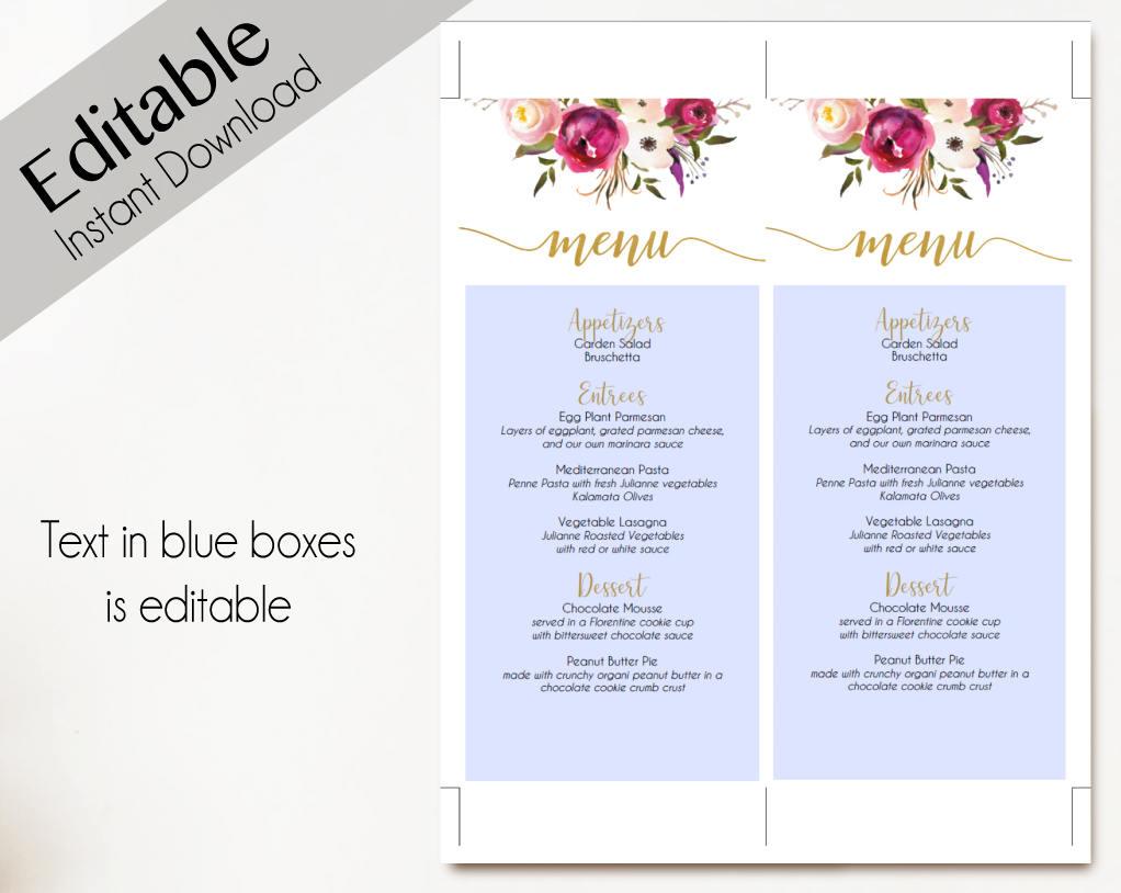 editable floral wedding party menu example