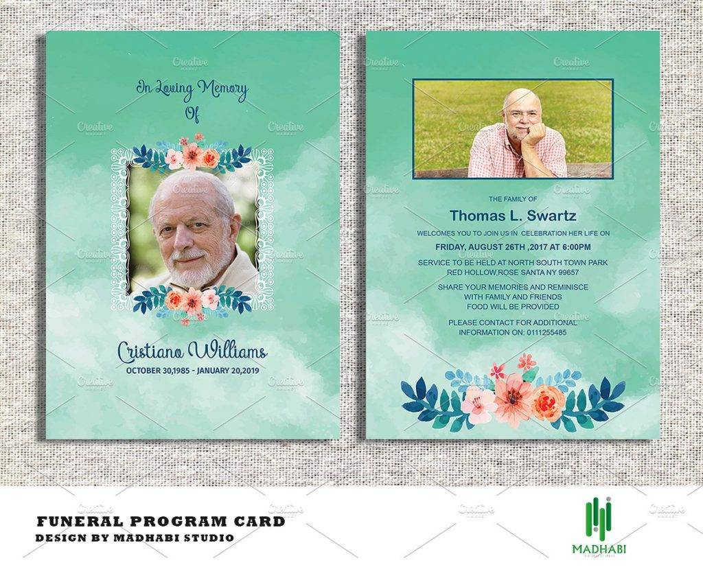 editable funeral announcement or invitation