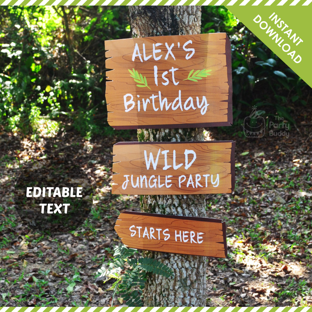 editable jungle party sign example