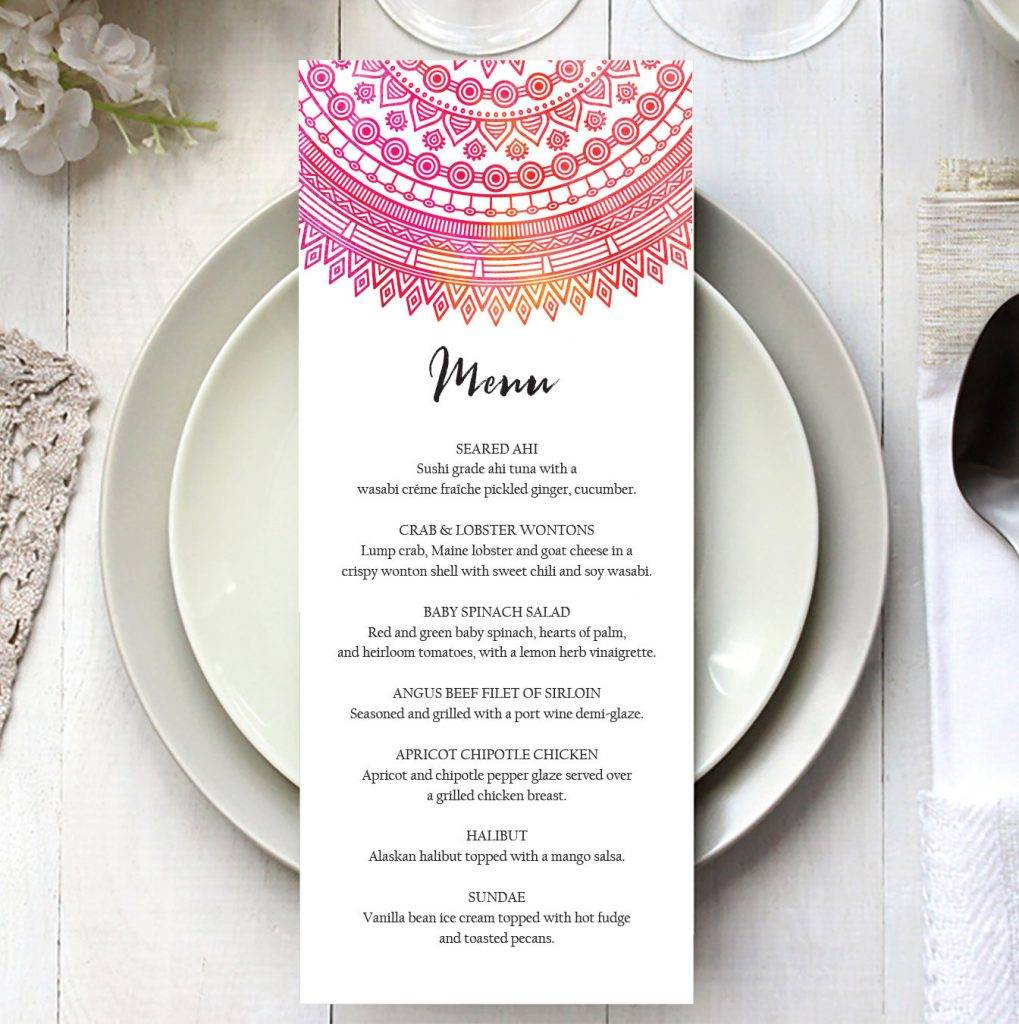 editable mandala event menu