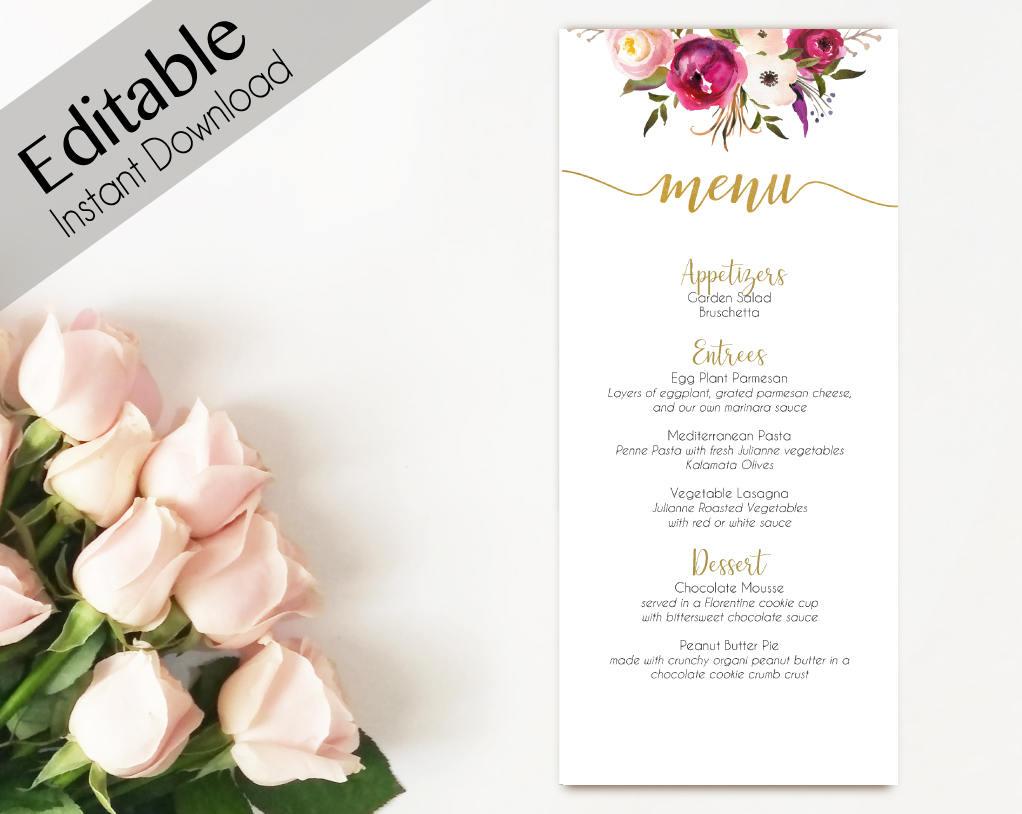 editable menu bridal shower